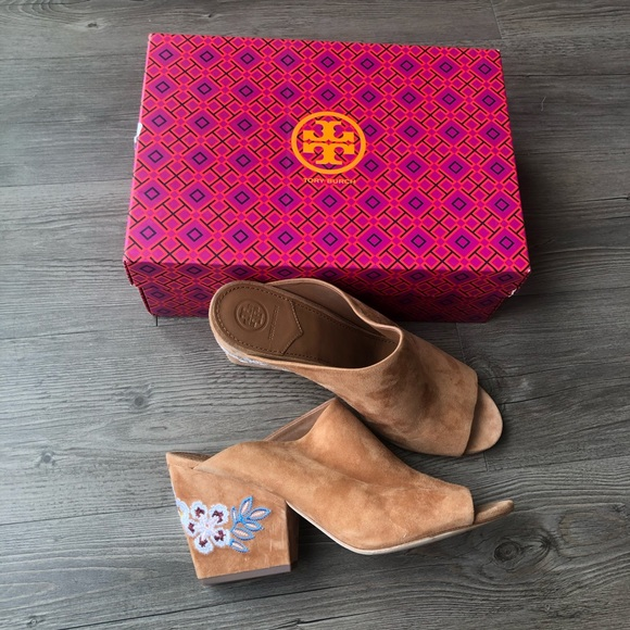 Tory Burch | Brown Embroidered Floral Mules